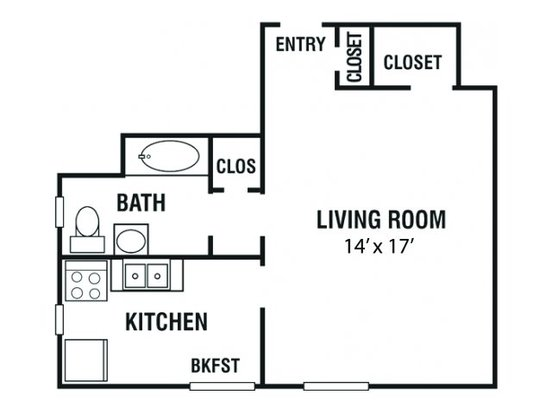 Studio 1 Bathroom Apartment for rent at Kimbrough Towers in Memphis, TN