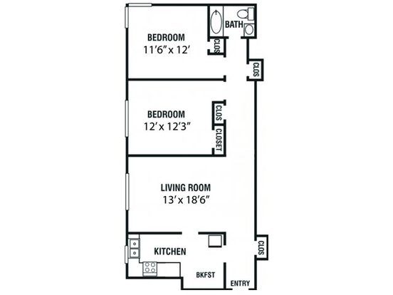 2 Bedrooms 1 Bathroom Apartment for rent at Kimbrough Towers in Memphis, TN