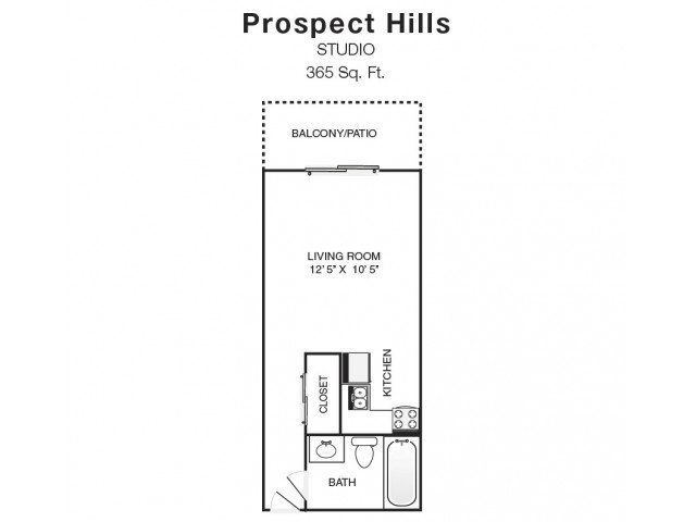 Studio 1 Bathroom Apartment for rent at Prospect Hills in Topeka, KS