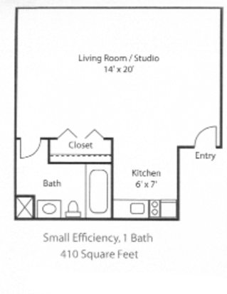 Studio 1 Bathroom Apartment for rent at Blair Tower in Memphis, TN