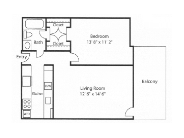 1 Bedroom 1 Bathroom Apartment for rent at Blair Tower in Memphis, TN
