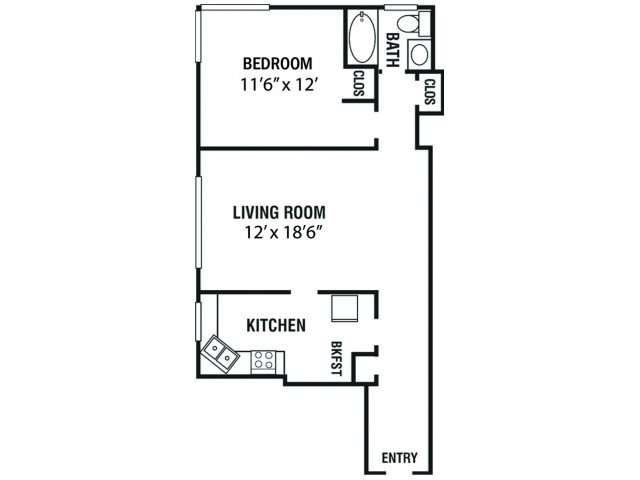 1 Bedroom 1 Bathroom Apartment for rent at Kimbrough Towers in Memphis, TN