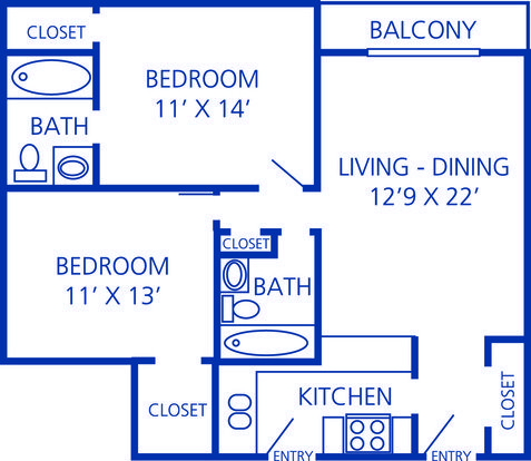 2 Bedrooms 2 Bathrooms Apartment for rent at Rosecrest Apartments in Memphis, TN