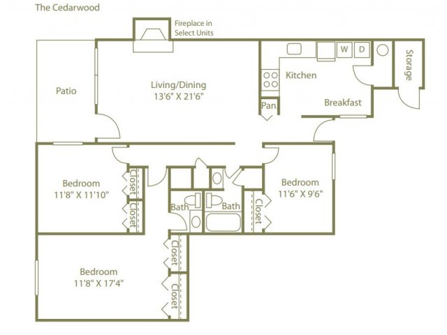 3 Bedrooms 2 Bathrooms Apartment for rent at Lynnfield Place in Memphis, TN