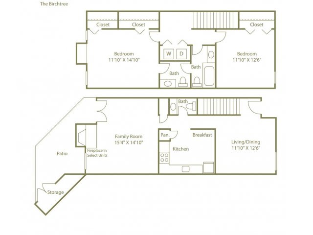 2 Bedrooms 3 Bathrooms Apartment for rent at Lynnfield Place in Memphis, TN