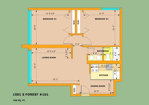 2 Bedrooms 1 Bathroom Apartment for rent at 1001 S Forest in Ann Arbor, MI