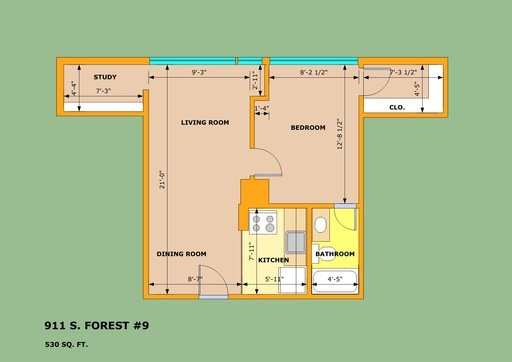 1 Bedroom 1 Bathroom Apartment for rent at 911 S Forest Ave in Ann Arbor, MI