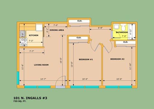 2 Bedrooms 1 Bathroom Apartment for rent at 101 N. Ingalls St in Ann Arbor, MI