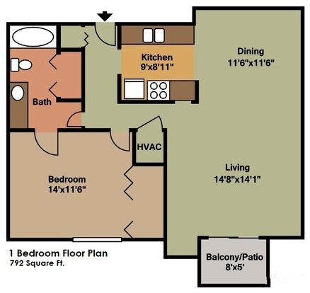 1 Bedroom 1 Bathroom Apartment for rent at Sun Valley Apartments in Fitchburg, WI