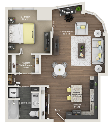 1 Bedroom 1 Bathroom Apartment for rent at Southside Works City Apartments in Pittsburgh, PA