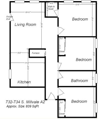 3 Bedrooms 1 Bathroom Apartment for rent at 732 S Millvale Ave in Pittsburgh, PA