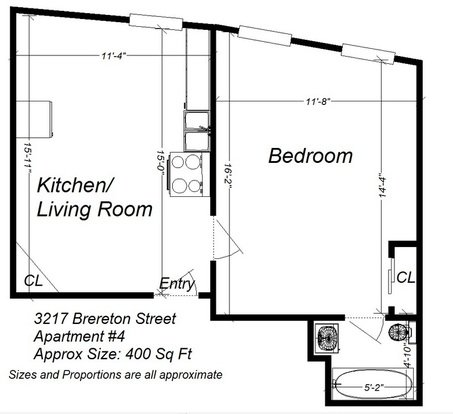 1 Bedroom 1 Bathroom Apartment for rent at 3217 Brereton Street in Pittsburgh, PA