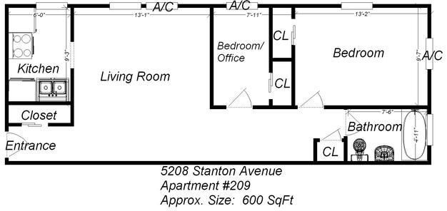 2 Bedrooms 1 Bathroom Apartment for rent at 5208 Stanton Avenue in Pittsburgh, PA