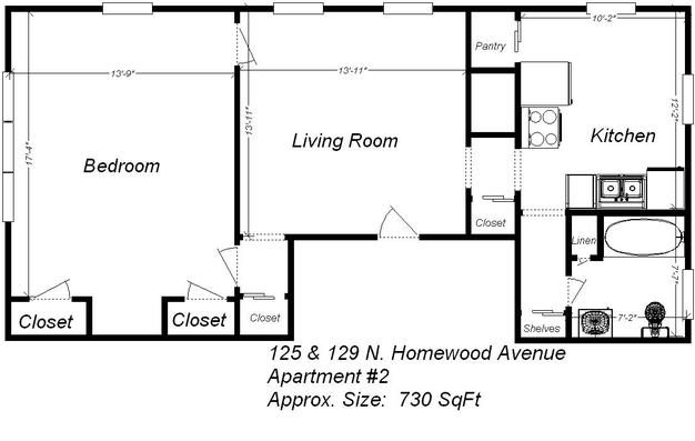 1 Bedroom 1 Bathroom Apartment for rent at 125 North Homewood Avenue in Pittsburgh, PA
