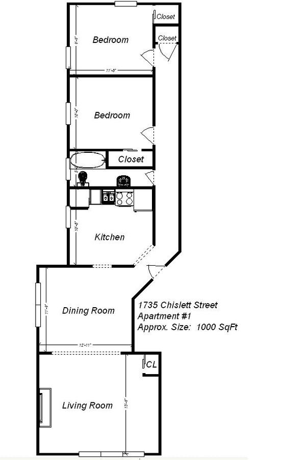 2 Bedrooms 1 Bathroom Apartment for rent at 1735 Chislett Street in Pittsburgh, PA