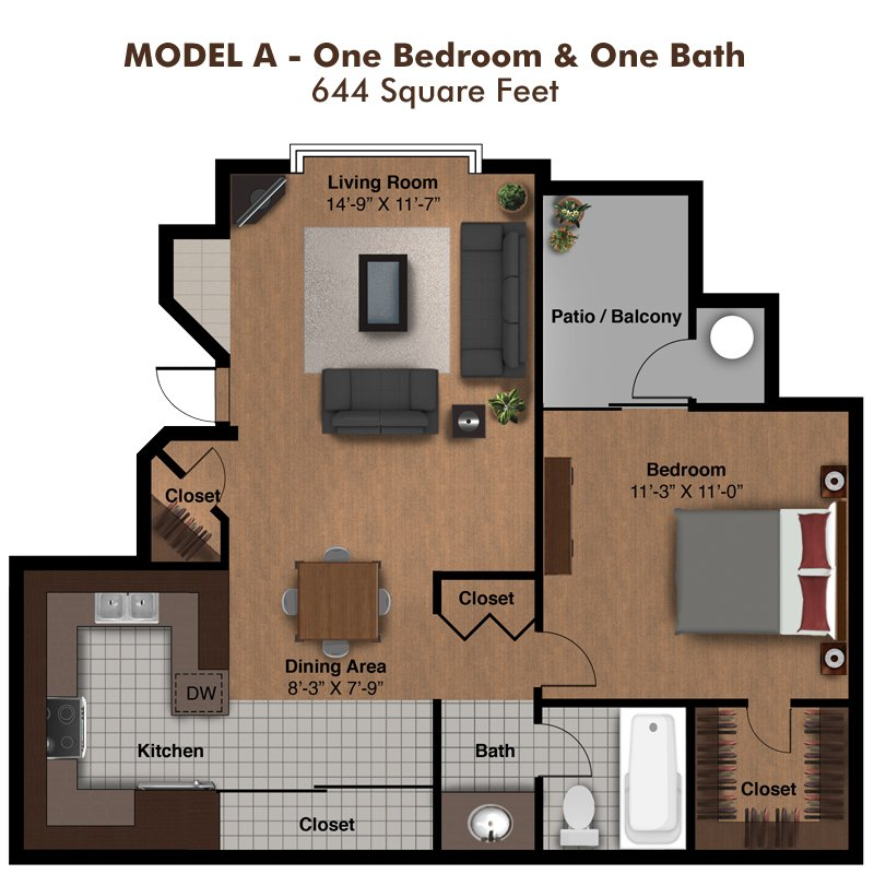 1 Bedroom 1 Bathroom Apartment for rent at Coral Point Apartments in Mesa, AZ