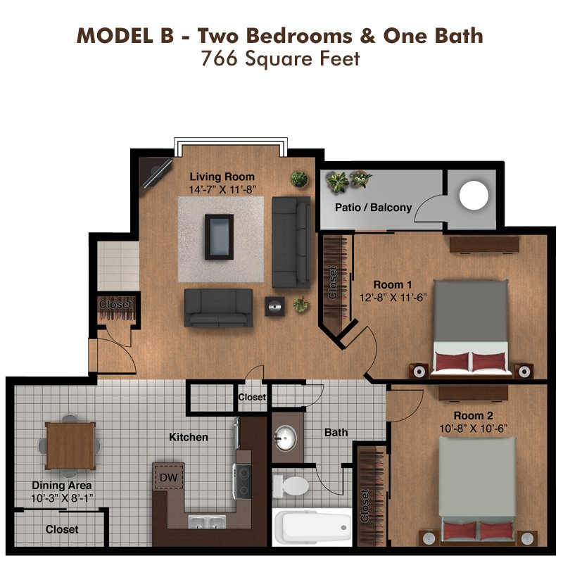 2 Bedrooms 1 Bathroom Apartment for rent at Coral Point Apartments in Mesa, AZ