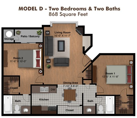 2 Bedrooms 2 Bathrooms Apartment for rent at Coral Point Apartments in Mesa, AZ