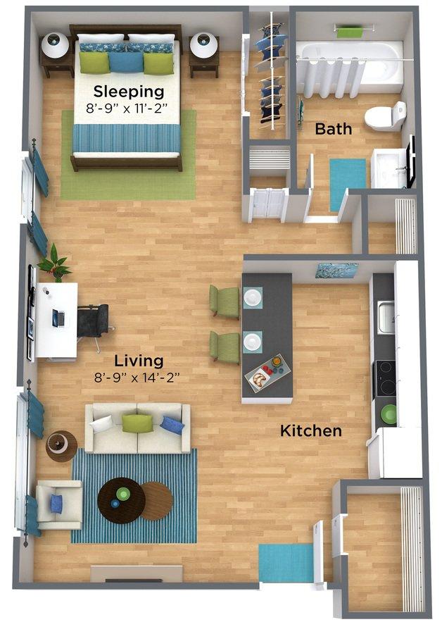 Studio 1 Bathroom Apartment for rent at
