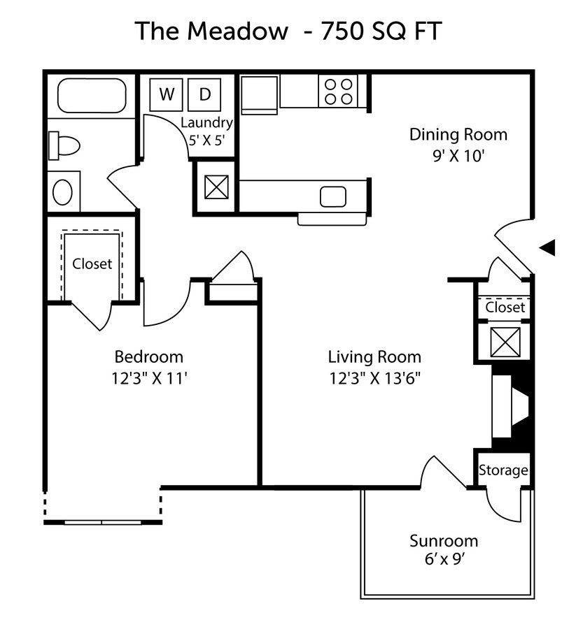 1 Bedroom 1 Bathroom Apartment for rent at Hunt's View Apartments in Greensboro, NC