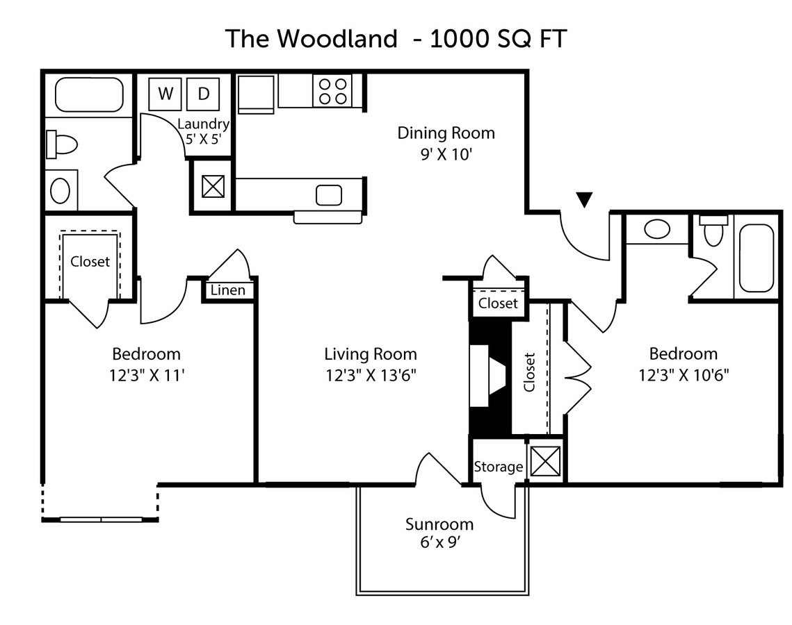 2 Bedrooms 2 Bathrooms Apartment for rent at Hunt's View Apartments in Greensboro, NC