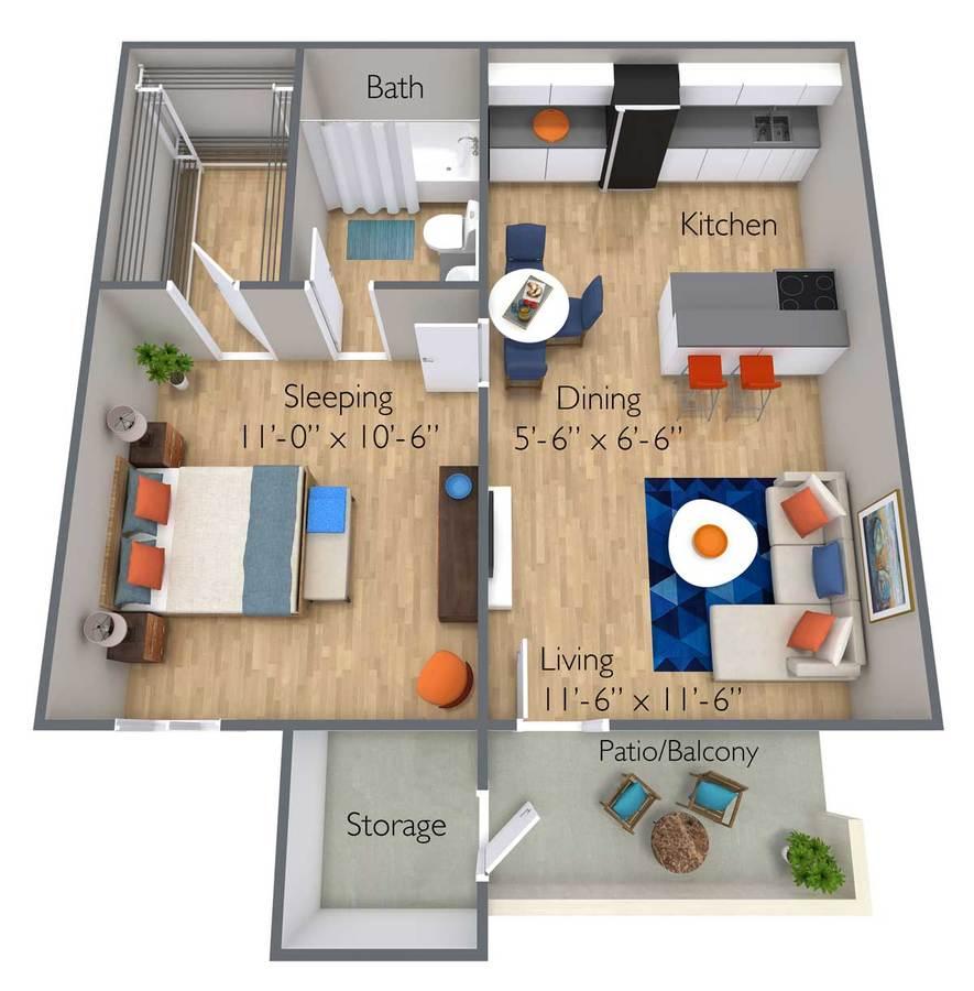 1 Bedroom 1 Bathroom Apartment for rent at Azul Apartments in Phoenix, AZ