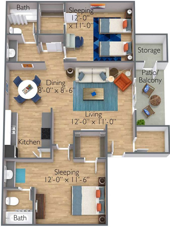 2 Bedrooms 2 Bathrooms Apartment for rent at Azul Apartments in Phoenix, AZ