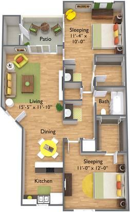 2 Bedrooms 1 Bathroom Apartment for rent at Brookfield Apartment Homes in Phoenix, AZ