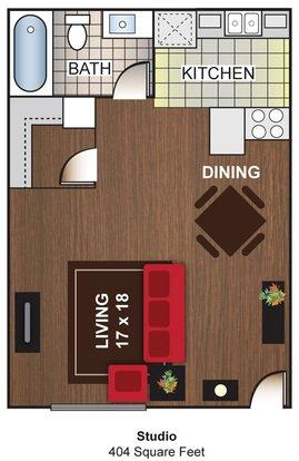 Studio 1 Bathroom Apartment for rent at Cascada Del Sol Apartments in Phoenix, AZ