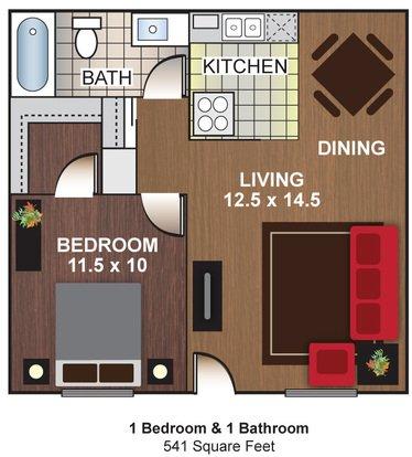 1 Bedroom 1 Bathroom Apartment for rent at Cascada Del Sol Apartments in Phoenix, AZ