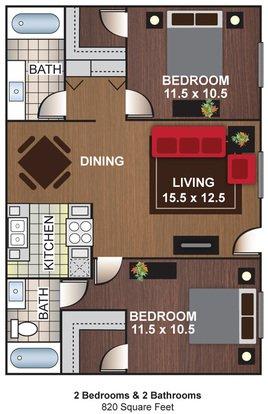 2 Bedrooms 2 Bathrooms Apartment for rent at Cascada Del Sol Apartments in Phoenix, AZ