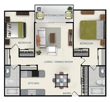 2 Bedrooms 2 Bathrooms Apartment for rent at Colter Park Apartments in Phoenix, AZ