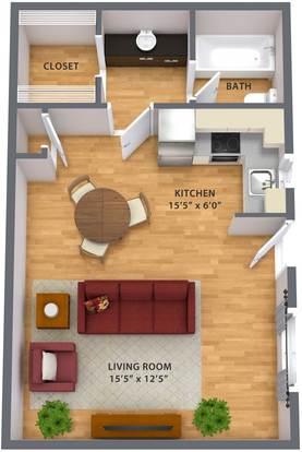 Studio 1 Bathroom Apartment for rent at Escondido Apartments in Phoenix, AZ