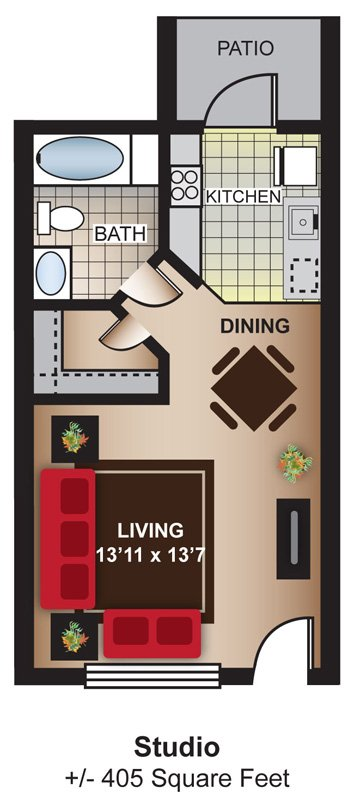 Studio 1 Bathroom Apartment for rent at Glenridge Apartments in Glendale, AZ