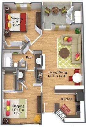 2 Bedrooms 1 Bathroom Apartment for rent at Spring Apartments in Phoenix, AZ