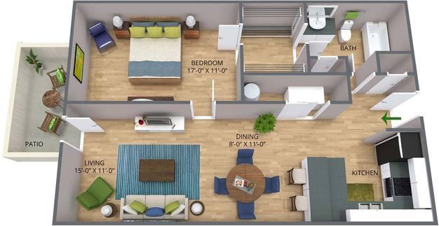 1 Bedroom 1 Bathroom Apartment for rent at Ashley Oaks Apartments in Greensboro, NC