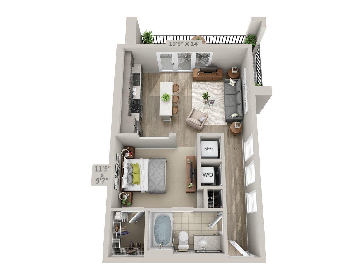 Studio 1 Bathroom Apartment for rent at Reserve Decatur in Decatur, GA