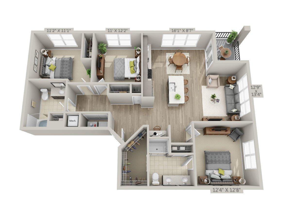 3 Bedrooms 2 Bathrooms Apartment for rent at Reserve Decatur in Decatur, GA