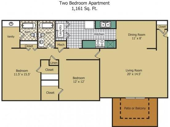 2 Bedrooms 1 Bathroom Apartment for rent at Rainbow Forest Apartments in Decatur, GA