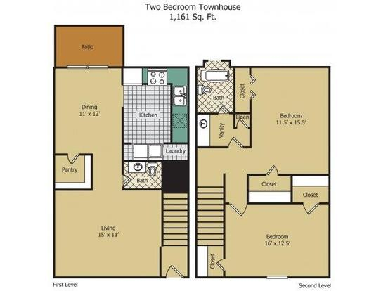 2 Bedrooms 2 Bathrooms Apartment for rent at Rainbow Forest Apartments in Decatur, GA
