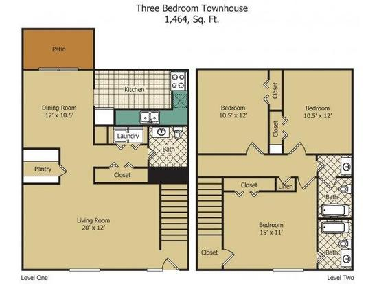 3 Bedrooms 2 Bathrooms Apartment for rent at Rainbow Forest Apartments in Decatur, GA