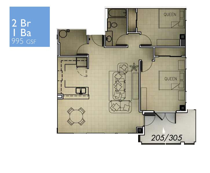 2 Bedrooms 1 Bathroom Apartment for rent at The Flats At Tioga Town Center in Tioga, FL