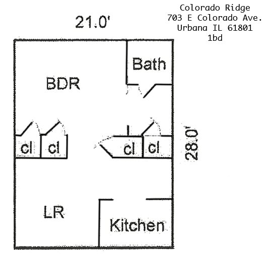 1 Bedroom 1 Bathroom Apartment for rent at Colorado Ridge in Urbana, IL