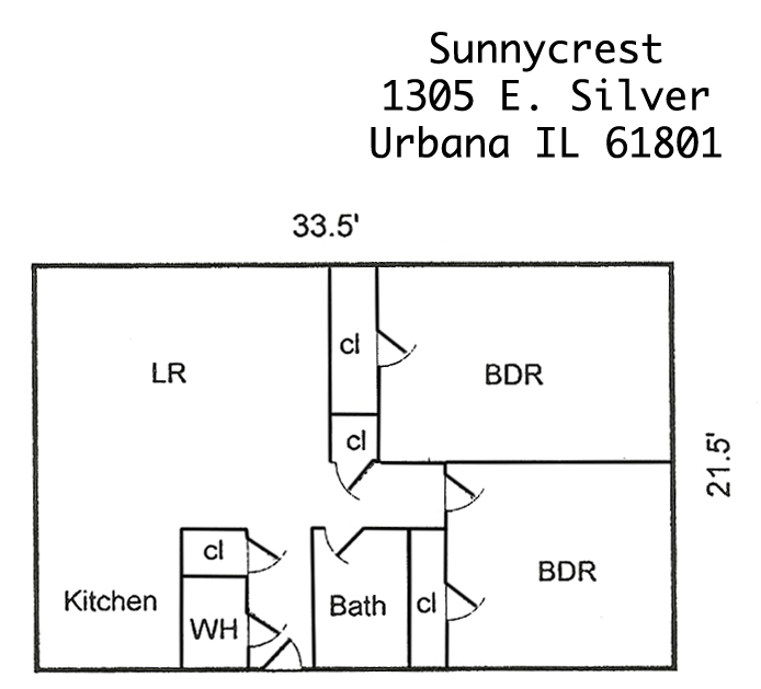 2 Bedrooms 1 Bathroom Apartment for rent at Sunnycrest Apartments in Urbana, IL