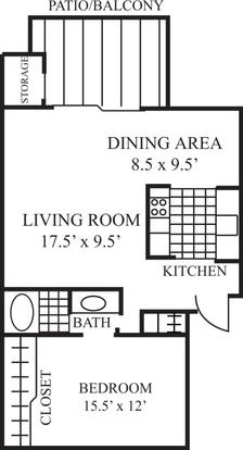 1 Bedroom 1 Bathroom Apartment for rent at Laguna Clara Apartments in Santa Clara, CA