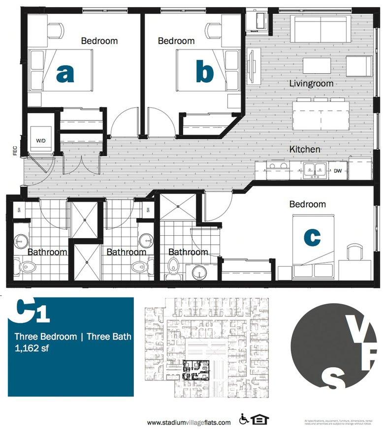 3 Bedrooms 3 Bathrooms Apartment for rent at Stadium Village Flats in Minneapolis, MN