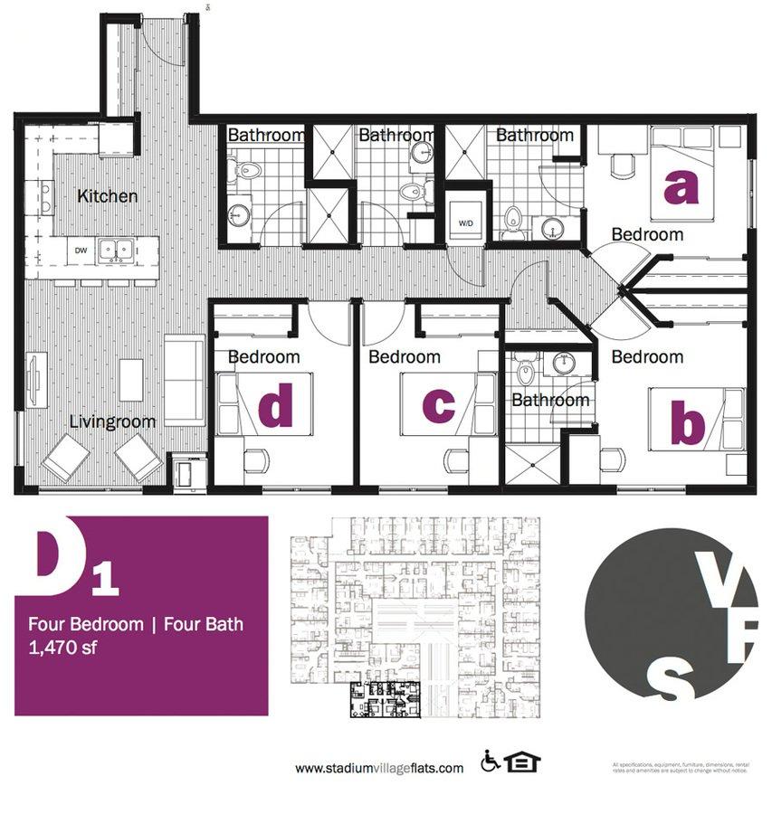 4 Bedrooms 3 Bathrooms Apartment for rent at Stadium Village Flats in Minneapolis, MN