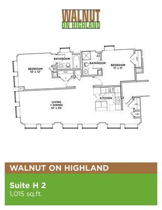 2 Bedrooms 1 Bathroom Apartment for rent at Walnut on Highland in Pittsburgh, PA