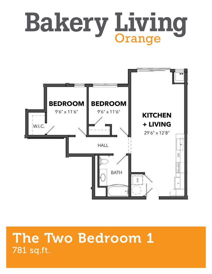 2 Bedrooms 1 Bathroom Apartment for rent at Bakery Living Orange in Pittsburgh, PA