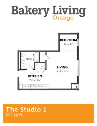 Studio 1 Bathroom Apartment for rent at Bakery Living Orange in Pittsburgh, PA